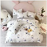HDBUJ Bedding Set of 3, Hand Painted Little Boy and Girl Printed Duvet Cover and Matching Two Reactive Dye Pillowcases