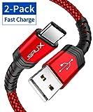 JSAUX USB C Kabel [2 Stück 2M ] Nylon Typ C Ladekabel für Samsung Galaxy S10 S9 S8 Plus,Note 10 9 8,A3 A5 2017,LG G5 G6 V20,HTC 10 U11,Sony Xperia XZ Xa1, Huawei P30 P20 Mate 20 Lite P10 P9 usw (Rot)