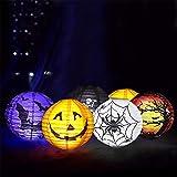 yizeda 6 Stück Halloween Papierlaternen Halloween Party Laterne mit LED-Licht Halloween Hängelaternen Dekorative Halloween Jack-O-Lanterns für Zuhause Outdoor Hof Party Deco