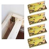 4 Set Schwerlast Bettgeländer Bettverbinder Bettbeschlag mit 32 Stück Schrauben Bettwinkel zum Einhängen Einhängebeschlag Möbelverbinder für Bett
