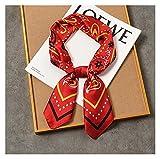 happy time Drucken Mode Cashew 2021 Frauen Multifunktions-Polyester Seidenschal Beiläufiges Small Square Wraps Schals Halstuch 70 * 70cm (Color : Red)