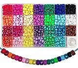 810 Stück Pony Beads 6x9mm Bunte/Perlenglanz mit Großem Loch für Schmuck, Armbänder, Ketten, Schlüsselanhänger, Basteln (27 Farben)
