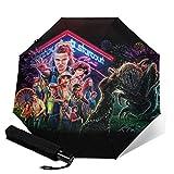 PLUAN Strange-Things Reise-Regenschirm 10 Rippen Regenschirme Leicht Stabil Automatik Regenschirm für Damen Herren, Schwarz (Schwarz) - Umbrella-212612819-1