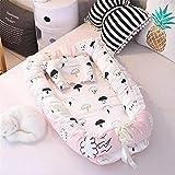 LJYY Baby Nest Kuschelnest Babybett Stoßstange Reisebett 100% Baumwolle Klappbett Abnehmbare Babymatratze 90 x 55 cm (Pink)