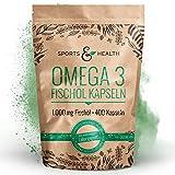 Omega 3 Fischöl Kapseln – 400 Kapseln Hochdosiert In Besonderer Qualität – 1000mg Omega3 Fettsäuren Pro Kapsel – Qualität Der Fischölkapseln In Deutschland Geprüft