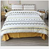HDBUJ Bedding Set of 3, Geometric Triangle and Small Square Pattern of Reactive Dyes Duvet Cover, Comes with Two Matching Pillow Cases
