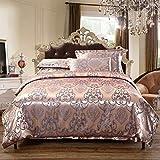ENCOFT 4 teilig Bettwäsche-Sets Baumwolle Bettwäsche 1 Bettbezug und 2 Kissenbezug Luxus Doppelbett Wohnzimmer Spitze (200 x 230 cm, Pink)