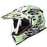 Berrd Original Motocross-Helm, Sonnenschutz, UV-Schutz, Pioneer Motocross-Helm mit abnehmbarem Polster, abnehmbares Polster - weiß und grün X XXXL