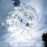 Hengda 10m LED Lichtschlauch 240 LEDs Lichterschlauch Wasserfest Lichterkette Strombetrieben mit 8 Modi für Innen Außen Party Hochzeit Deko Kaltweiß Leuchtschlauch