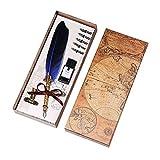 Kalligraphie Feder Stift Set, Vintage Werbung Geschenk Metall Wasser Füllfederhalter Geburtstag Geschenk Set 5 Federn