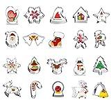 JIASHA Ausstechformen,20Stück Keksausstecher Weihnachten, Plätzchen Ausstecher Edelstahl Kuchen Keks Fondant Ausstecher Set für Motivtorten Tortendeko Kekse Backen Küche Zubehör