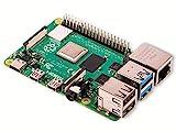 Raspberry Pi 4 Modell B; 4GB, ARM-Cortex-A72 4 x, 1,50GHz, 4GB RAM, WLAN-ac, Bluetooth 5, LAN, 4 x USB, 2 x Micro-HDMI