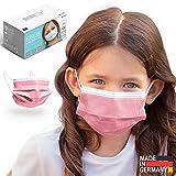 HARD Kinder Medizinischer Mundschutz Maske TYP IIR, CE zertifiziert EN14683, Made in Germany, Einweg-Gesichtsmasken 50 stück - Rosa