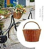 Rainai Fahrradkorb, Fahrradkorb, Weidenkorb, D-Form, handgewebt, Fahrradkorb, Aufbewahrungskorb, geeignet für Jungen und Mädchen Erwachsene Fahrrad und Einkaufskorb