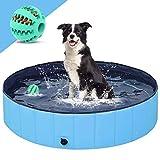 Hundepool für Große & Kleine Hunde,Jkevow Faltbare planschbecken für Kinder & Haustier PVC rutschfest Schwimmbecken,Geschenk mit Hundespielzeug Ball (M-120*30cm)