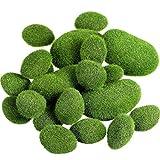Tiamu 20 Stück 2 Gr??en Künstliche Moosfelsen Dekorative Falsch Grün Moos Bedeckt Steine