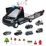 Jenilily Polizei Spielzeug Matchbox Auto Set, polizeiauto mit Sirene und Blinklicht kinderspielzeug Jungen ab 3 4 5 Jahre