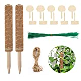 ATUIO - Plant Support Totem Pole, Rankhilfe Blumenstab, Pflanzstab Kokos Rankstab, Kokosstab, 40CM*2, mit 10*Holzetiketten, 50*Drehbinder, 4mHanfseil