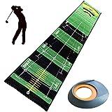 AUPERTO Golf-Golfmatte – 50 x 300 cm, faltbar, tragbar, mit Ballhalter, Distanzmarkierungen für drinnen und draußen, Golf-Übung und Training