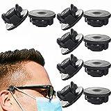 FTIK Maskenhalter, Brillenknöpfe für Masken, Maske Ohrhaken Brille, 10 Stück elastische Maskenhalterung zur Entlastung der Ohren über Nacken und Hinterkopf, (RAPANDA) Schwarz