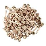 Haudang 100 Packung 3 Zoll Holz Honig Loeffelstoecke, Einzeln Verpackt, Server Fuer Honigglas Dispenser Nieselte Honig, Hochzeit Party Bevorzugungen