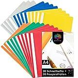 OfficeTree 20x Schnellhefter A4 Set Bunt inkl. 20 Prospekthüllen A4 Glasklar – 40 teiliges Komplettset