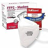 50 Stück FFP2 Masken von Dr. Family + GRATIS BullGuard Internet Security 3 User - CE Zertifiziert Mundschutz 5-lagig Maske mit versteckten Nasenbügel hygienisch verpackt