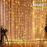 LED Lichtervorhang, FOCHEA 3m x 3m 304 LEDs Lichterkette Lichtvorhang, 8 Modi LED Vorhang Lichterketten für Weihnachten Party Schlafzimmer Garten Innen und außen Deko Warmweiß