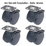 4 Stck. feststellbare Möbelrolle Lenkrolle Transportrolle Stuhlrolle Laufrollen mit Anschraubplatte D50mm - livindo.pro©