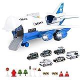 BAZOVE Auto Spielzeug Set mit Transport Frachtflugzeug, Mini Bildungsfahrzeug Polizei Auto Set für 3-6 Jahre alt Kinder Kleinkinder Jungen Kind Geschenk, 6 Autos, großes Flugzeug, 11 Verkehrszeichen