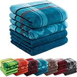 Erwin Müller Handtuch-Set 4er-Pack - 100% Baumwolle - Petrol Größe 50x100 cm - kuschelweich, saugstark, voluminös - praktisch durch beidseitige Schlaufen (weitere Farben)