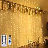 Lichtervorhang LED Lichterkette LED Lichterkettenvorhang, IP45 Wasserdicht Deko Für Weihnachten, Partydekoration, Innenbeleuchtung (Warm White)