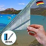 X-Solutions | Sonnenschutz Folie | Spiegelfolie Selbstklebend | Selbsthaftend, Silber reflektierende Fensterfolie | UV-Schutz Sonnenschutzfolie Fenster innen | Sichtschutz | 90 x 400 cm
