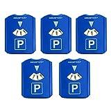 HAC24 5er Set Parkscheibe mit Eiskratzer und Gummilippe Kunststoff Auto Parkuhr 15,5x12 cm Blau