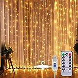 SUNNEST LED Lichterketten Lichtervorhang 300 LEDs USB Vorhanglichter String Light 8 Modi mit Fernbedienung Timer IP68 für Deko Innenbeleuchtung Warmweiß