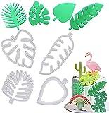 Nesloonp 20 Stück Tropisches Blatt Ausstecher, Werkzeug zum Ausstechen von Keksen in Form von Farnblatt Form aus Kunststoff, runde Ausstechformen für Kekse, Fondant und Kuchen
