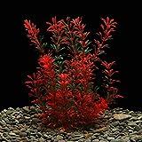 LYNKO Große Aquarienpflanzen Künstliches Plastik Aquarium Pflanzen Dekoration Ornament Sicher für alle Fische 12 (30 cm) Zoll hoch 4 (10 cm) Zoll breit - Rot