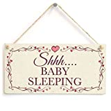 Cheyan Lustiges Dekoschild Schhh Baby Sleeping Sign Do Not Disturb Child Baby Sleep Sign Holz Hängeschild für Haus Tür