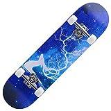 Skateboard, 7 Schichten Decks 31x8inch Komplettes Skateboard Ahornholz Longboards für Jugendliche Erwachsene Anfänger Mädchen Jungen Kinder, o fengong (Color : O)