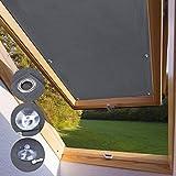 iKINLO Dachfensterrollo Thermo Rollos Sonnenschutz – ohne Bohren (Grau, B60cm x H93cm) für Fenster & Tür Verdunkelungs Rollo Passende Velux-Fenstertypen M06 und 306