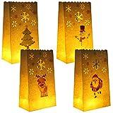 URATOT 24 Stück weiße Lichttüten Papierleuchten Laternen Flammenfeste Kerzentüten mit 4 Stilen Weihnachtsdesigns für Zuhause, Weihnachten, Outdoor, Party Decor
