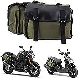 znwiem Motorrad Satteltasche Satteltasche für Honda Suzuki Kawasaki Roller Doppel Gepäckträger Heck Tasche Seite Rucksack - Leinen, Leder