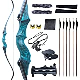 Black Hunter Original Recurvebögen Erwachsene Bogen und Pfeil für Erwachsene Jagdbogen Bogenschießen Ausrüstung 60' 20-60lbs Rechtshänder mit reinen Carbonpfeilen für Outdoor-Schießwettbewerbe (20lbs)