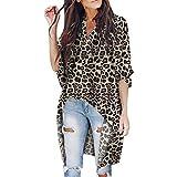 Frauen V-Ausschnitt Irregulär Tops Kurzarm Leopard Drucken T-Shirt Blusen