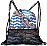 nxnx 3D Print Leisure Bundle Backpack Cute Octopus Squid Tentacle Portable Drawstring Bag Travel Bag Yoga Runner Daypack Polyester Shoe Bags