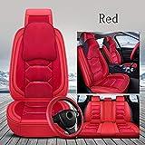 TTJZ Auto-Sitzledersitzschutz Einstellbare Removable Auto-Sitzkissen für die meisten Autos und SUV-Komplett-Sets,Rot