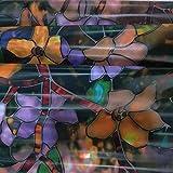 N / A Magnolia Muster Buntglasfolie elektrostatische Frischhaltefolie Wärmesteuerung Multi-Size-bewegliche Heimdekoration Farbfolie A40 40x100cm