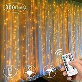 LED Lichtervorhang,Eyscoco 300 LEDs USB Lichterkettenvorhang, 3M*3M 8 Modi Lichterkette mit Fernbedienung Warmweiß für Partydekoration Deko Schlafzimmer Weihnachten Hochzeit Innen und außen Deko