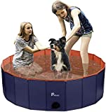 Pidsen Hundepool Swimmingpool PVC tragbare Faltbare Hunde Katzen Bad Wanne Badewanne Waschbad Haustier Schwimmbad Wasser Teich (120 * 30cm, Orange)