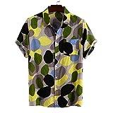 Herren Shirt Digital Polka Dot Printing Mode Persönlichkeit Großformat Druck Revers Kurzarm ShirtX-Large